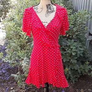 Boohoo Faux Wrap Dress Red with Dots size 12